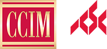 CCIM Logo - Red square with serif type inside with gold gradient and ICSC Logo - Red diamond pattern above white uppercase sans-serif type