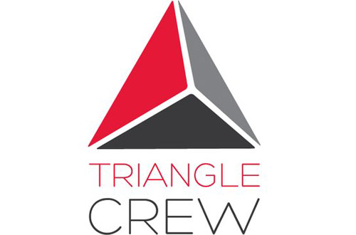 Triangle Crew Logo - 3 paneled triangle in red, dark gray, and light gray with light sans-serif type below